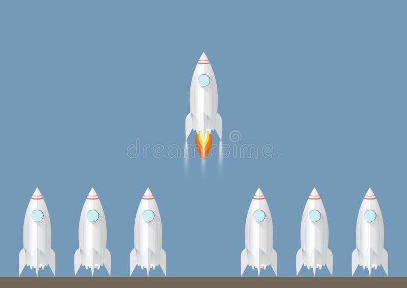 Ein Raketenstart unter den anderen Starten Sie und Führungsgeschäftskonzept vektor abbildung