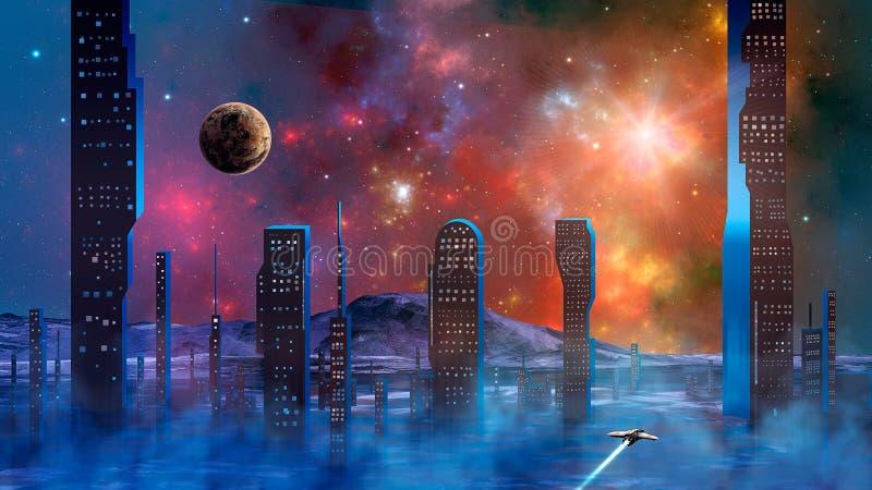 Ein Raumschiff, das über den Dunst und Rauch von abstrakter moderner Science-Fiction-Stadt mit bunten fraktalen Nebel und Planete stock abbildung