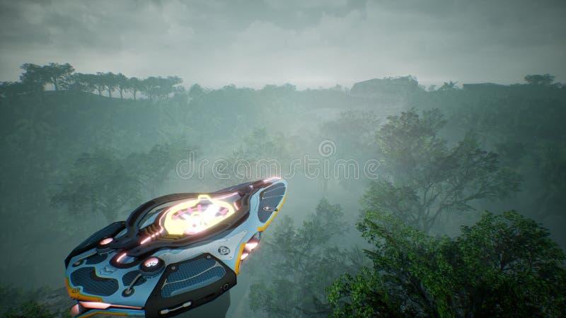 Ein Raumschiff, das über einen unbekannten grünen Planeten fliegt Ein futuristisches Konzept eines UFO Wiedergabe 3d lizenzfreies stockfoto
