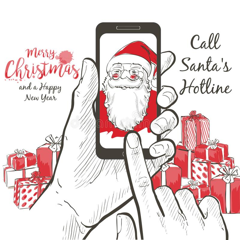 Ein realistisches Porträt von Santa Claus nennend unter Verwendung des Smartphoneschirmes stock abbildung