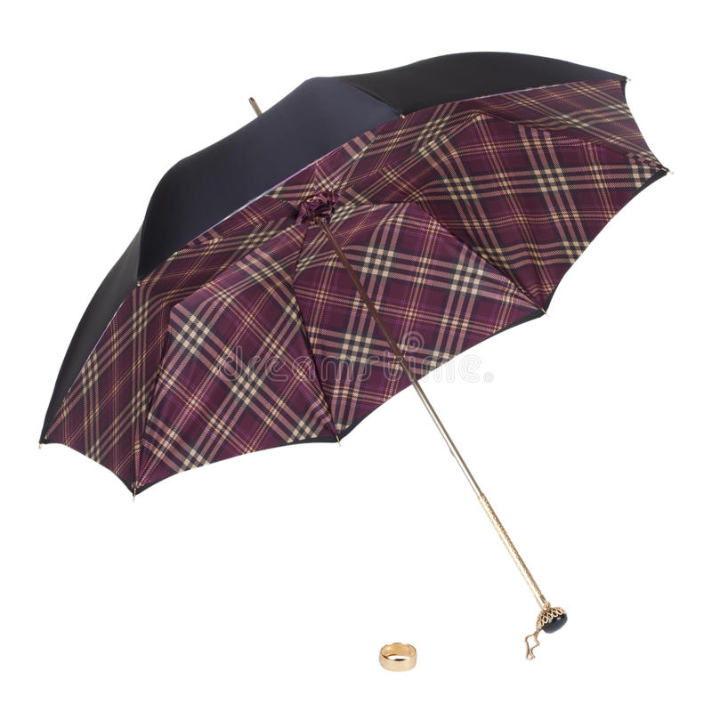 Ein Regenschirm auf einem weißen Hintergrund. Getrennt. stockfoto