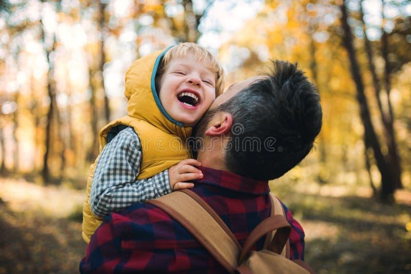 Ein reifer Vater, der einen Kleinkindsohn in einem Herbstwald, Spaß habend hält stockbilder
