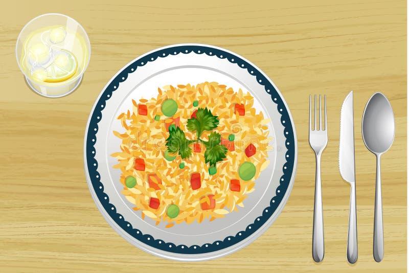 Ein Reis in einem Teller vektor abbildung