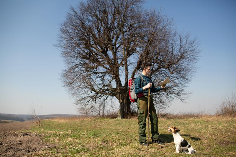 Ein Reisender mit einem Rucksack und seinem Hund, die Karte betrachtend und gehen in die Landschaft stockfotos