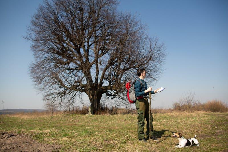 Ein Reisender mit einem Rucksack und seinem Hund, die Karte betrachtend und gehen in die Landschaft lizenzfreies stockbild