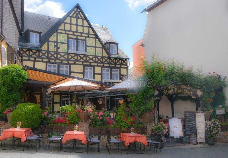 Ein reizendes Restaurant in rudsheimï ¼ ŒGermany stockfotografie