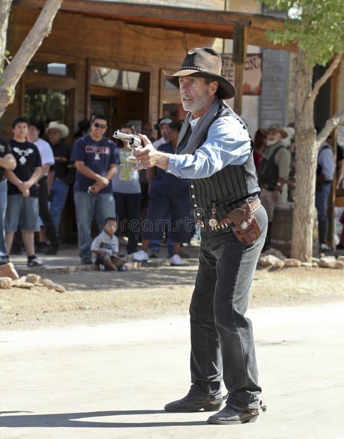 Ein Revolverheld bei Helldorado, Finanzanzeige, Arizona lizenzfreie stockfotos