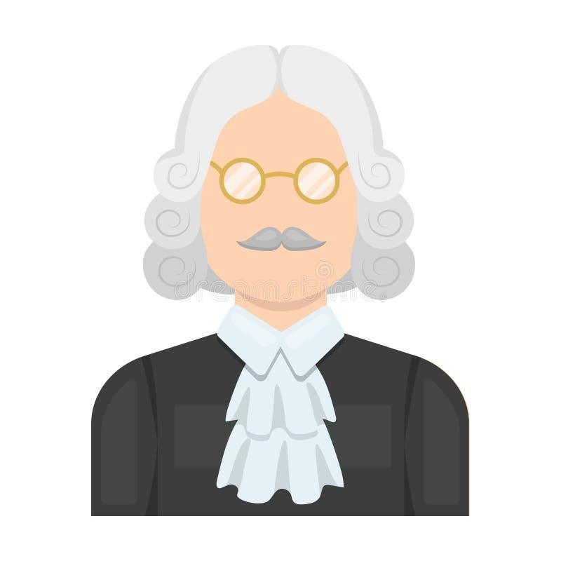 Ein Richter in einer Perücke und in den Gläsern Eine Person, die einem Verbrecher einen Urteilsspruch macht Einzelne Ikone des Ge stock abbildung