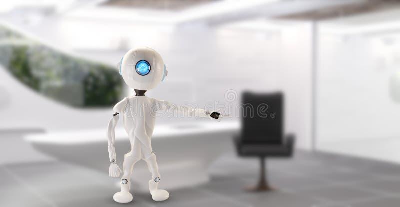 Ein Roboter in einem Büro zeigt auf etwas 3D-Illustration lizenzfreie abbildung