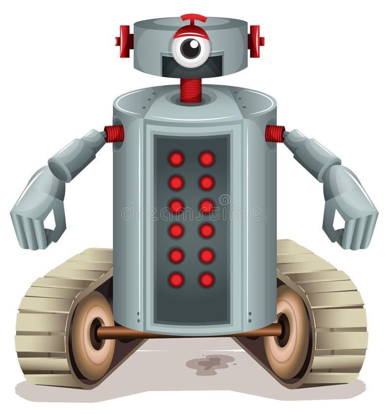 Ein Roboter mit roten Knöpfen stock abbildung