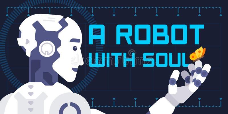 Ein Roboter mit Seelenillustration in der flachen Art lizenzfreie abbildung