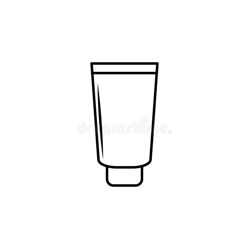 Ein Rohr der Sahneikone Element der Flasche für bewegliche Konzept und Netz apps Dünne Linie Ikone für Websitedesign und Entwickl lizenzfreie abbildung