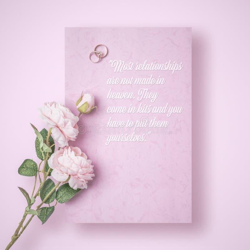 Ein romantischer Buchstabe mit Zitat von unbekanntem Autor stockfoto