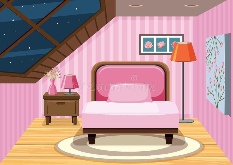 Ein rosa Dachbodenschlafzimmer lizenzfreie abbildung