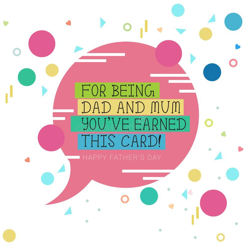 Ein rosa Spracheballon mit den grafischen Gestaltungselementen, die Vater ` s Tag durch einzelne Mama feiern stock abbildung