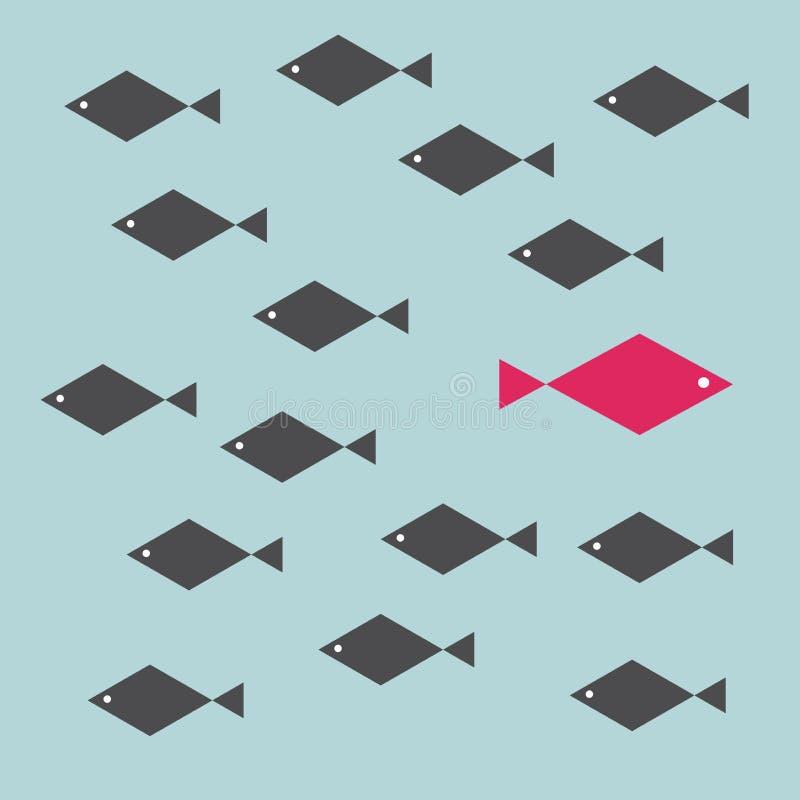 Ein roter einzigartiger verschiedener Fisch, der gegenüber von Weise des identischen Schwarzen eine schwimmt vektor abbildung