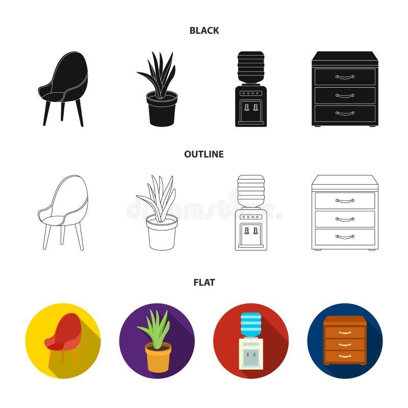 Ein roter Stuhl mit einer bequemen Rückseite, eine Aloeblume in einem Topf, ein Apparat mit Trinkwasser, ein Kabinett für Büropap stock abbildung