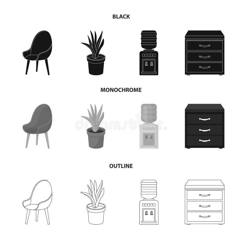 Ein roter Stuhl mit einer bequemen Rückseite, eine Aloeblume in einem Topf, ein Apparat mit Trinkwasser, ein Kabinett für Büropap lizenzfreie abbildung