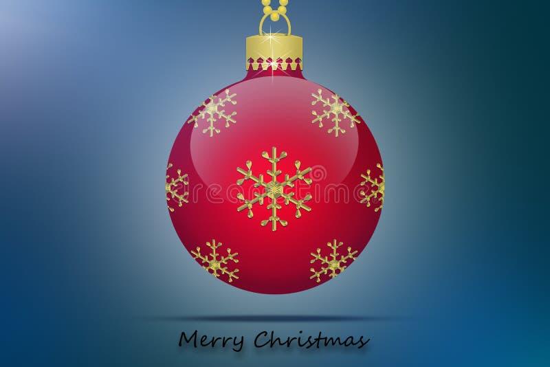 Ein roter Weihnachtsbaumball mit Schneeflockenverzierung auf einem blauen Hintergrund lizenzfreie abbildung