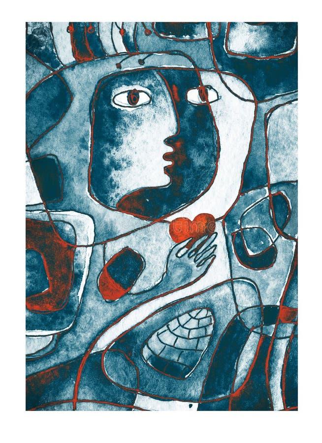 Ein rotes Herz in den Händen, in einem Gesicht und in den Linien Cubistic Malerei vektor abbildung