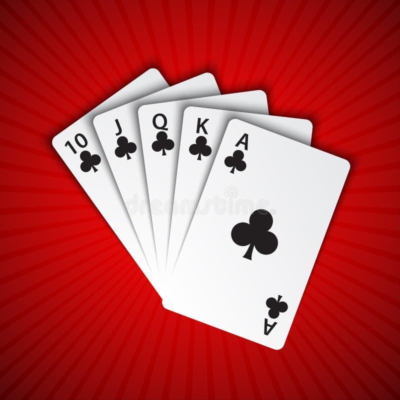 Ein Royal Flush von Clubs auf rotem Hintergrund, gewinnende Hände des Pokers lizenzfreie abbildung