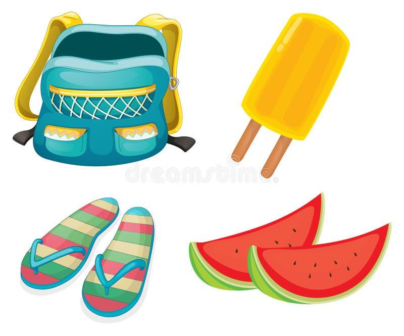 Ein Rucksack, ein Paar Pantoffel und Nahrungsmittel für Erfrischung vektor abbildung