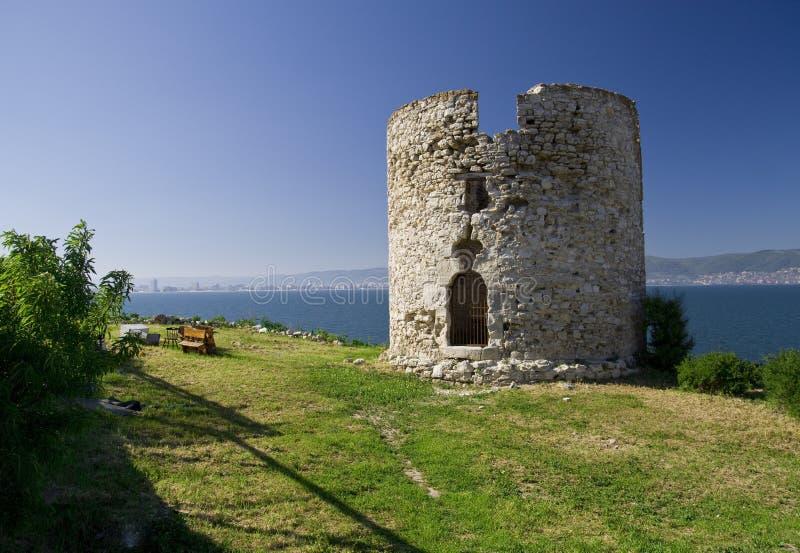 Ein ruiniertes Schloss in Bulgarien, Nesebar lizenzfreie stockfotografie