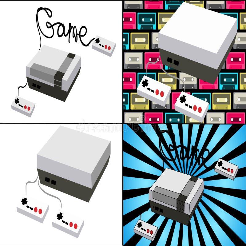 Ein Satz alte antike Retro- Weinlesehippie-Spielkonsolen für Videospiele vom 80 ` s, 90 ` s auf verschiedenen Hintergründen Vekto vektor abbildung