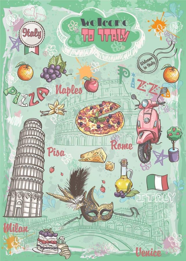 Ein Satz Anblick in Italien, Architektur, Lebensmittel, Transport, Einzelteile lizenzfreie abbildung