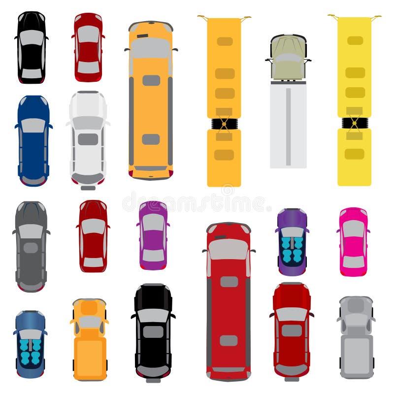 Ein Satz Autos Sidan, Coupé, Kabriolett, Kombiwagen, Frachtpackwagen, Bus Ansicht von oben Abbildung vektor abbildung