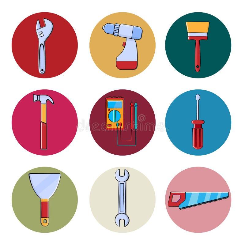 Ein Satz Baureparaturwerkzeuge ringsum Ikonen für Hauptreparatur, Wohnung, Gartenarbeiteinzelteile Schlüssel, Schraubenzieher, Bü vektor abbildung