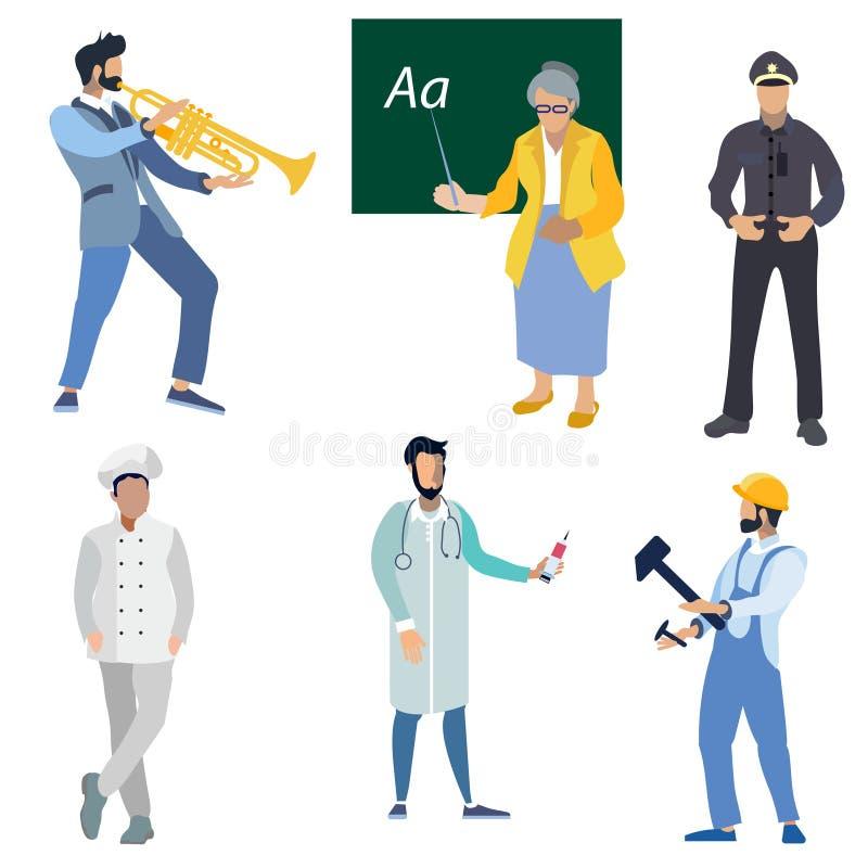 Ein Satz Berufsleute Doktor, Lehrer, Feuerwehrmann, Polizist, Musiker und Mechaniker In der unbedeutenden Art flach lizenzfreie abbildung