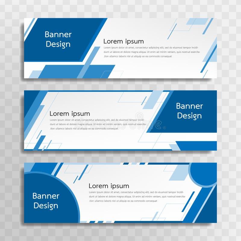 Ein Satz blaue Fahnenschablonen, die für das Netz bestimmt sind und verschiedene Schlagzeilen sind in drei verschiedenen Designen lizenzfreie abbildung
