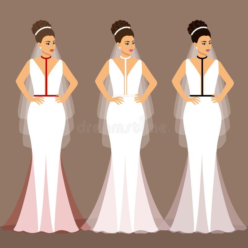 Ein Satz Brautkleider Die Wahl Kleidung f?r die Braut vektor abbildung