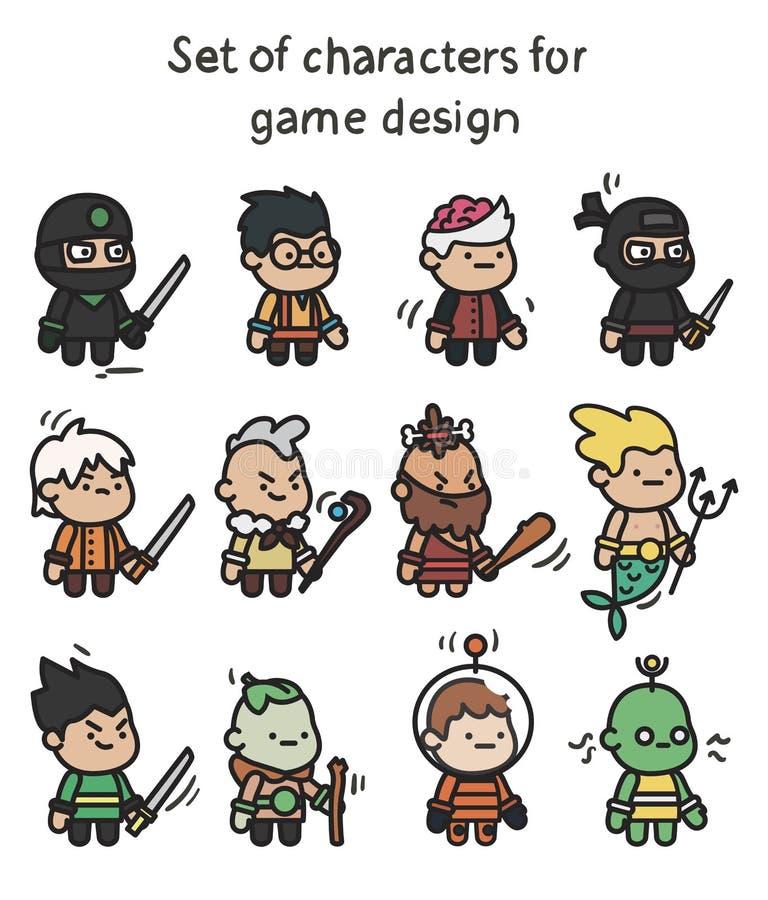 Ein Satz Charaktere bereit zur Animation Charakter für bewegliche Anwendungen und Spieldesign lizenzfreie abbildung