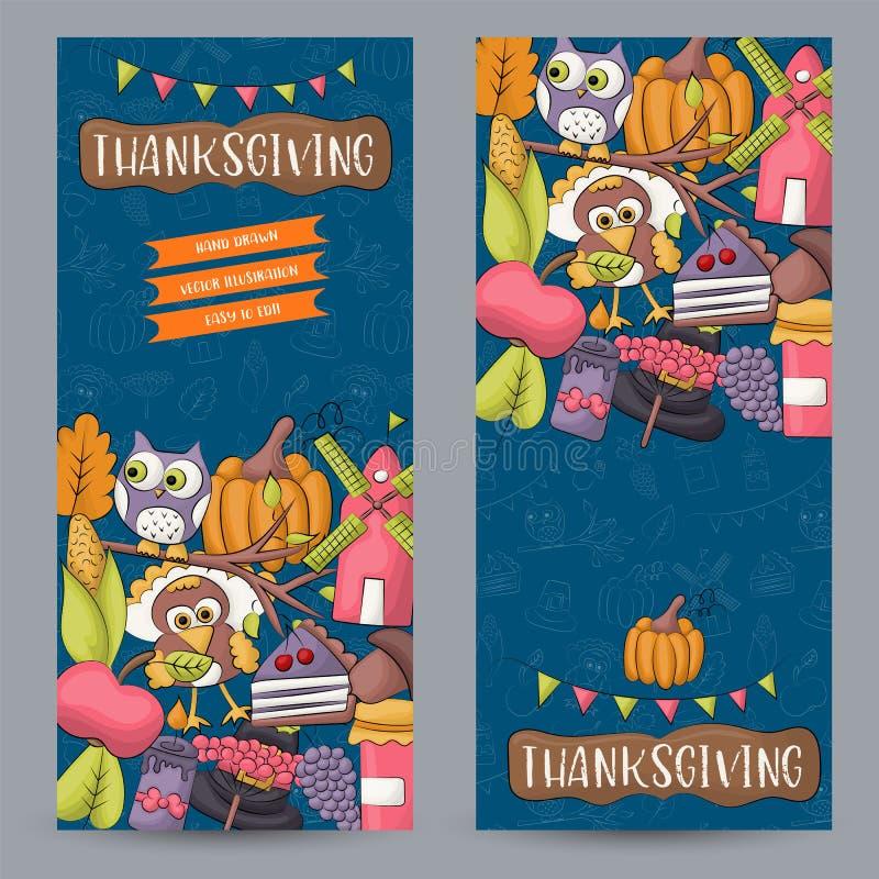 Ein Satz Danksagungsvertikalenfahnen Frohe Feiertage Konzept Herbsternte-Designschablone für Anzeige, Verkauf, Einladung vektor abbildung