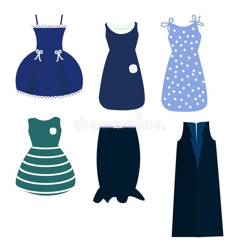 Ein Satz der Frau kleidet in den blauen Tönen, in einem Rock und in einer ärmellosen Jacke an Frauen ` s Kleidung vektor abbildung