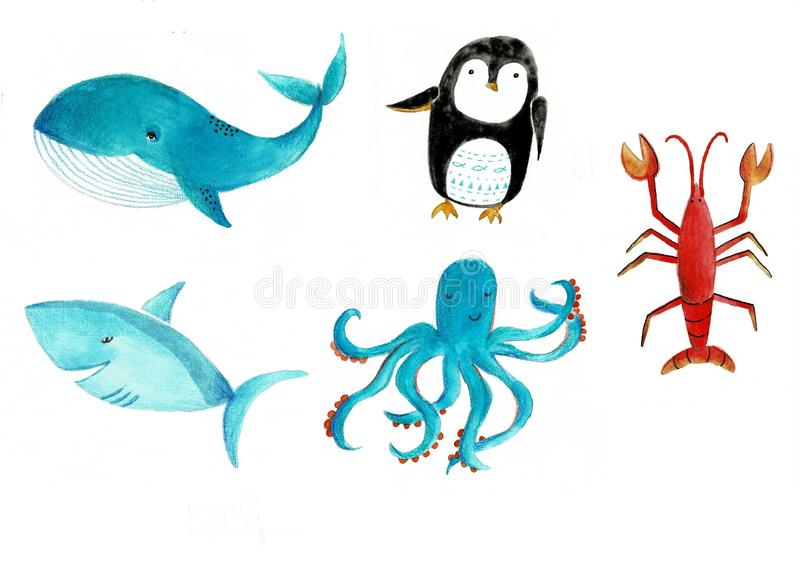Ein Satz der Meerestieraquarellillustration Krake, Wal, Haifisch, Panzerkrebs auf einem weißen Hintergrund lizenzfreie abbildung