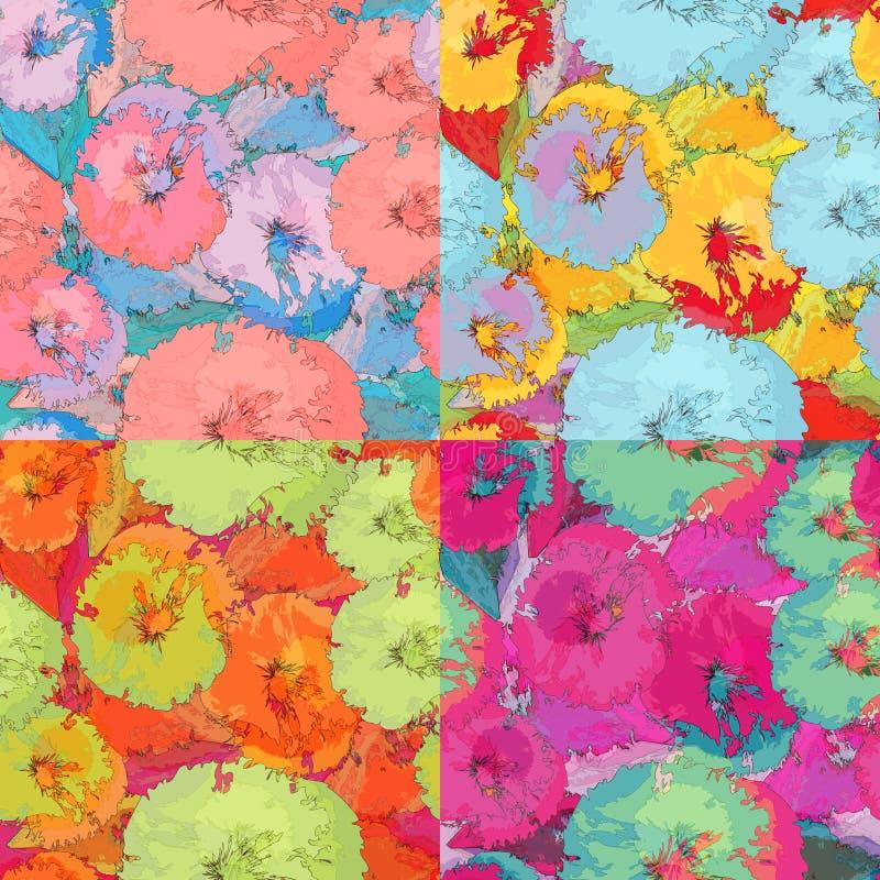 Ein Satz des abstrakten nahtlosen mit Blumenmusters in der Schmutzart lizenzfreie abbildung