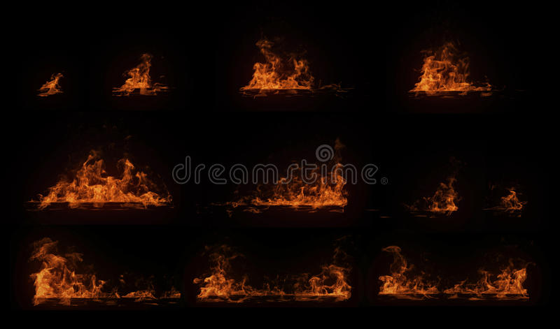 Ein Satz des Brennens des horizontalen hölzernen Strahls mit Partikeln lizenzfreies stockbild