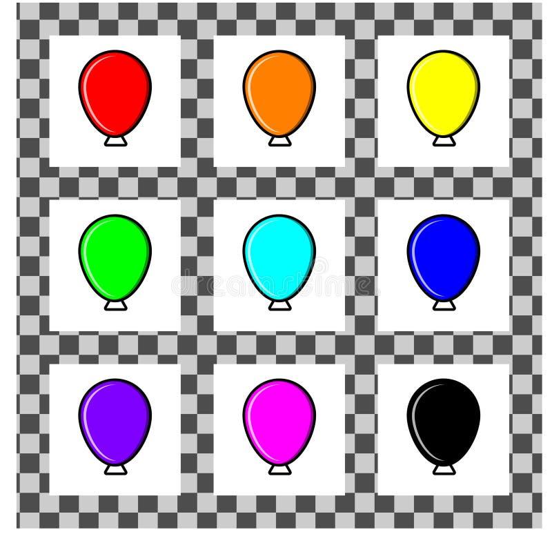Ein Satz einfache Ballone von verschiedenen Farben in der flachen Art Jede Einzelperson wird auf einem weißen Hintergrund lokalis stock abbildung