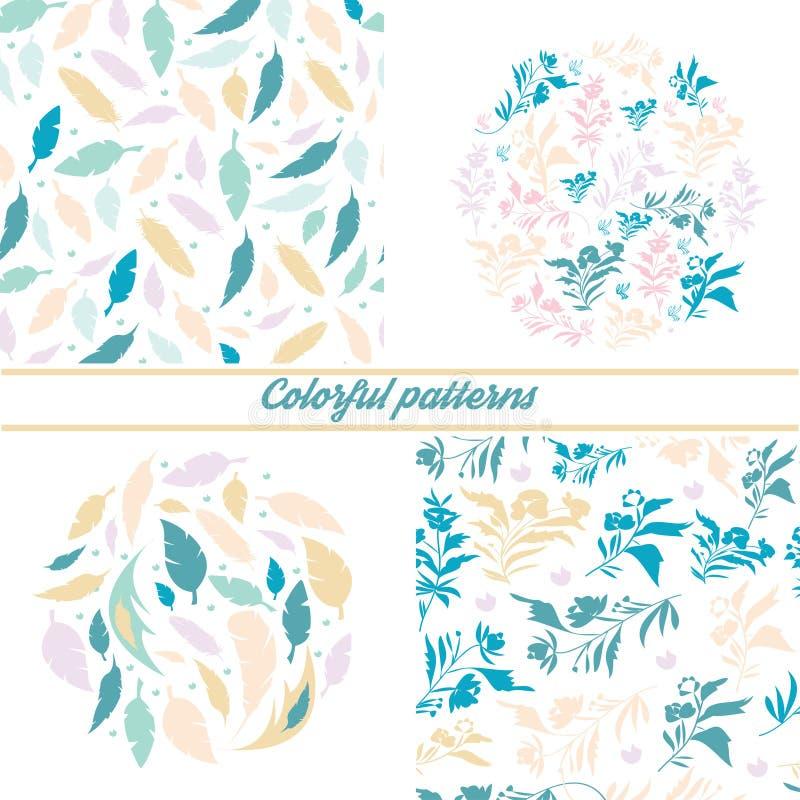 Ein Satz empfindliche Blumenmuster und Embleme auf einem wei?en Hintergrund mit Florenelementen und dekorativen Federn stock abbildung