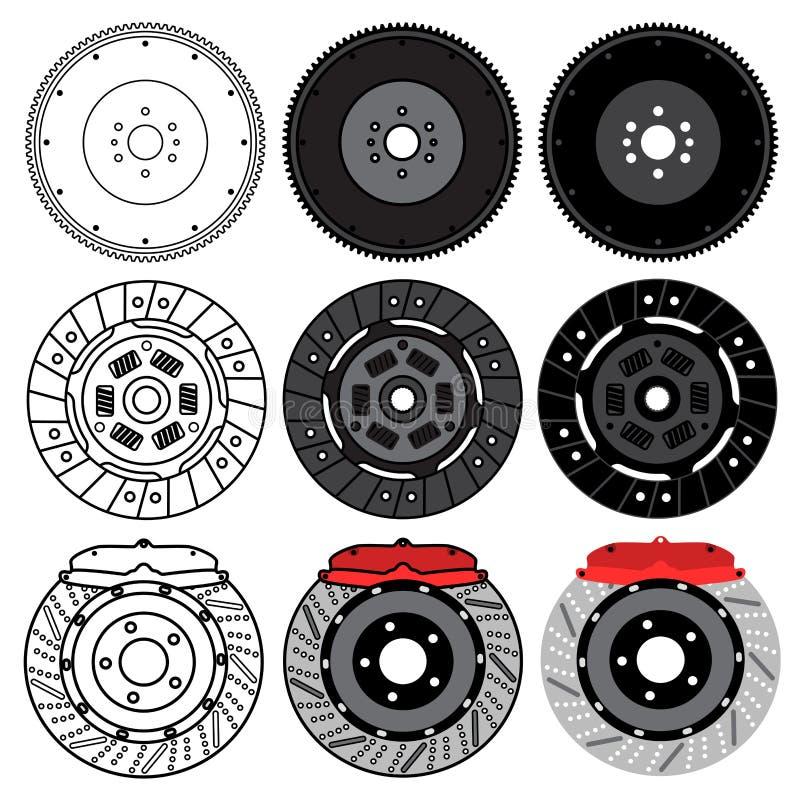 Ein Satz Ersatzautoteile für Wagenpflege Schwungrad, Bremsbeläge, Bremsscheibe Getrennt auf weißem Hintergrund lizenzfreie abbildung