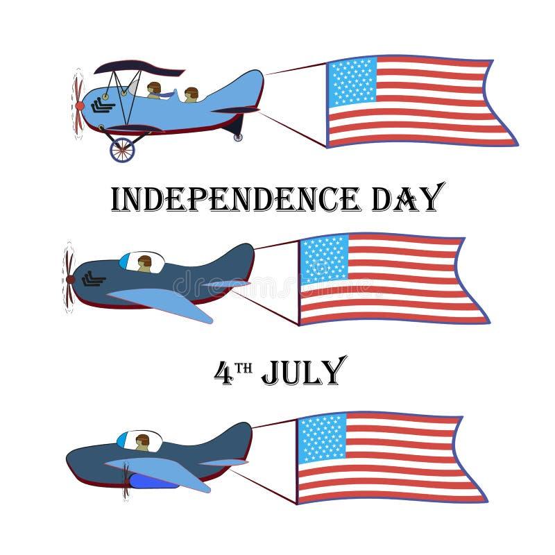 Ein Satz festliche Flugzeuge für den Tag unabhängig davon die Vereinigten Staaten stock abbildung