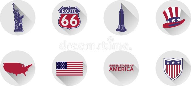 Ein Satz flache Ikonen der Vereinigten Staaten lizenzfreie stockbilder
