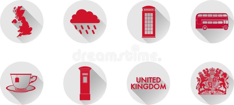 Ein Satz flache Ikonen Großbritanniens lizenzfreie stockfotografie