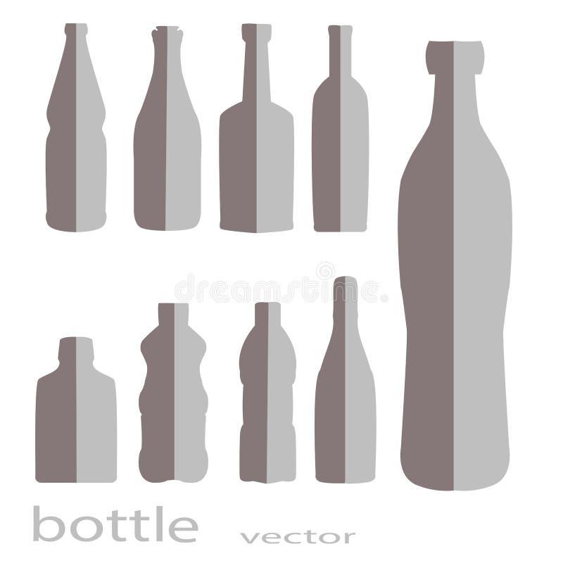Ein Satz Flaschen im Grau Lokalisierter Hintergrund lizenzfreie stockfotografie