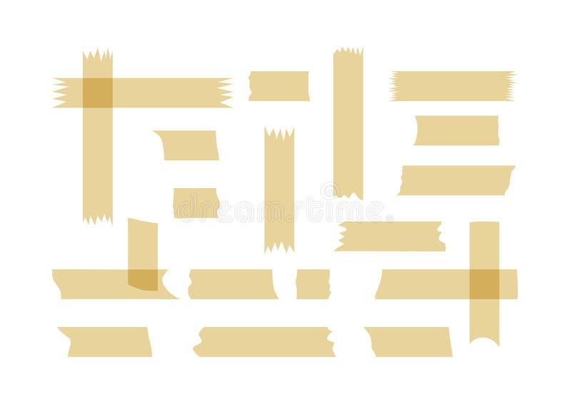 Ein Satz Fragmente des Klebstreifens Kleine und große zackige Stücke stock abbildung