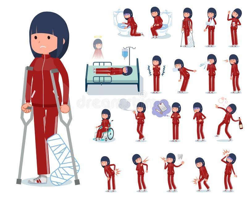Ein Satz Frauen in der Sportkleidung mit Verletzung und Krankheit Es gibt Aktionen, die Abhängigkeit und Tod ausdrücken  stock abbildung