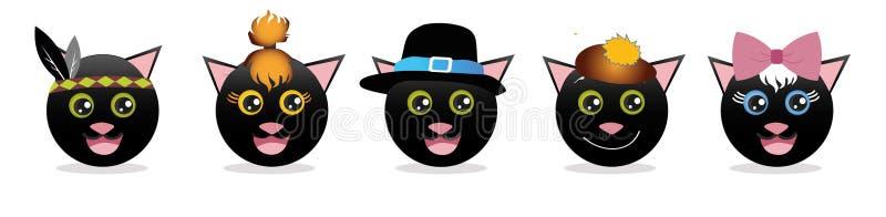 Ein Satz grafische Emoticons - Katzen Emoji-Sammlung Lächelnikonen lizenzfreie abbildung